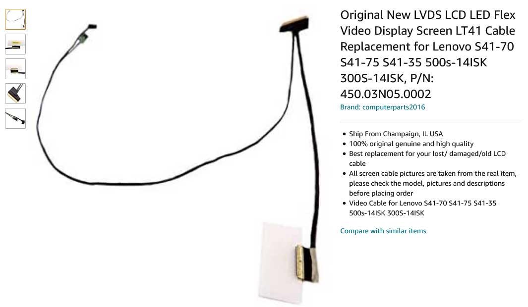 کابل فلت تصویر لپ تاپ لنوو IdeaPad 300S-14ISK U41-70