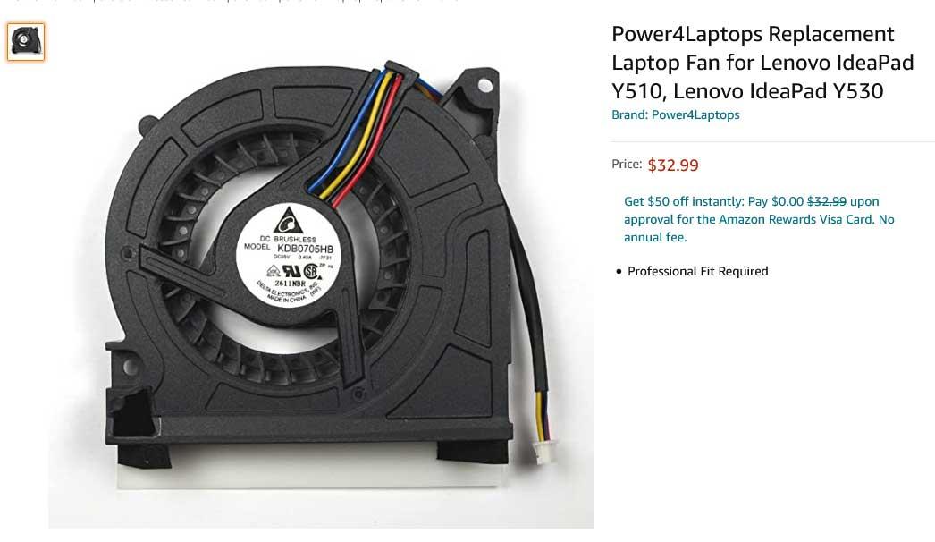 فن لپ تاپ لنوو Fan Lenovo IdeaPad Y510 Y530