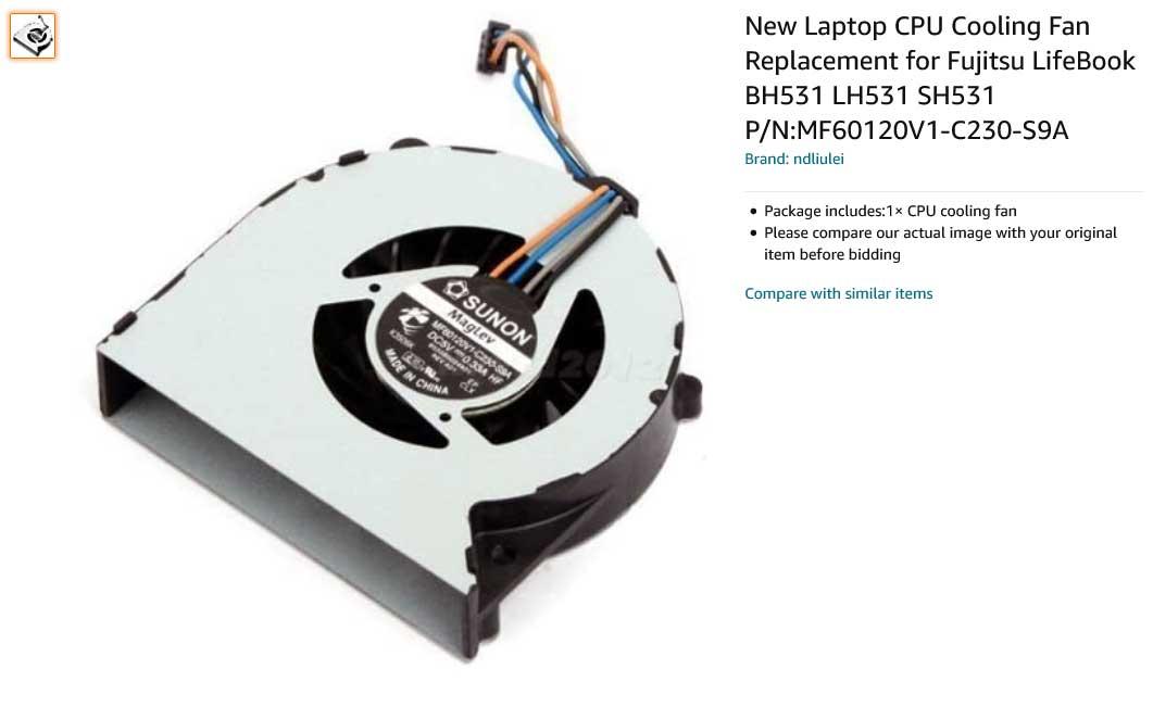 فن لپ تاپ فوجیتسو LifeBook BH531 LH531 SH531 LH31