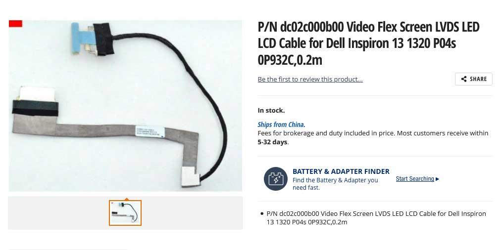 کابل فلت تصویر لپ تاپ دل Inspiron 13 1320 P04S DC02C000B00