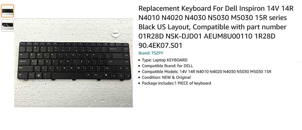 کیبورد لپ تاپ دل Dell Inspiron 4010 14R N4010