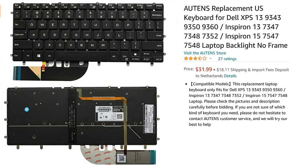 کیبورد لپ تاپ دل DELL XPS 13 9343 9350 9360