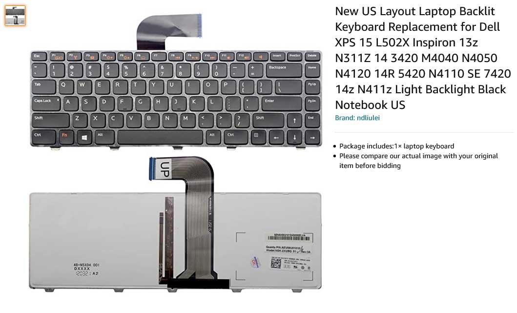 کیبورد لپ تاپ دل DELL 4110 XPS L502X Backlit