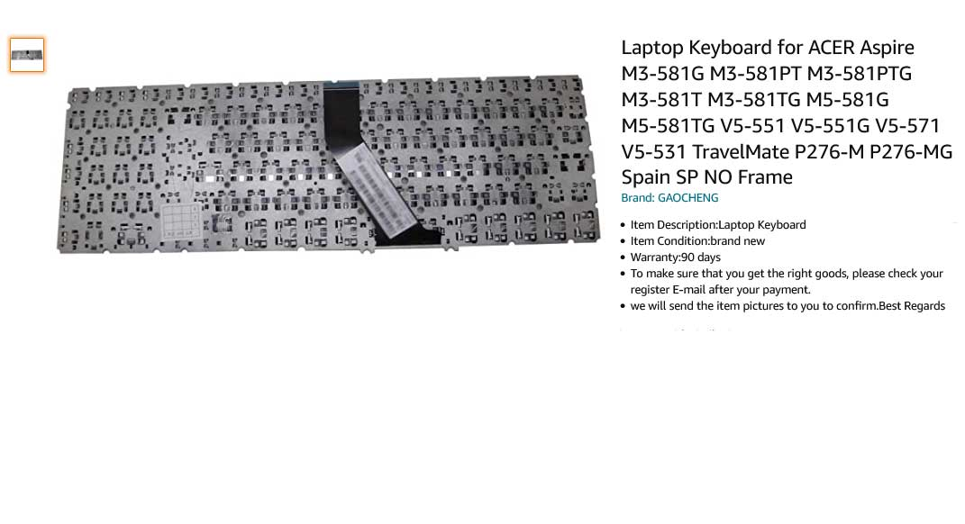 کیبورد لپ تاپ ایسر V5-531 V5-571 V5-551G