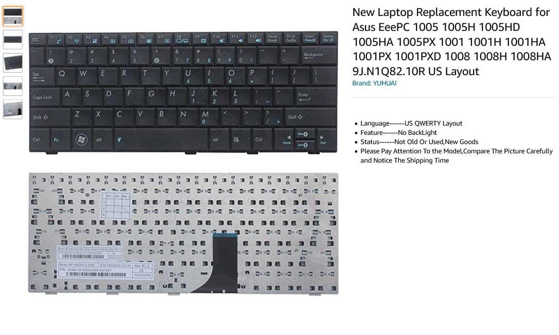 کیبورد لپ تاپ ایسوس EEE PC 1001 1008 1005