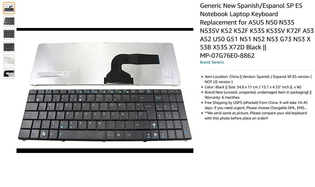 کیبورد لپ تاپ ایسوس K52 K53 X55 N61 UX50 A52 U50