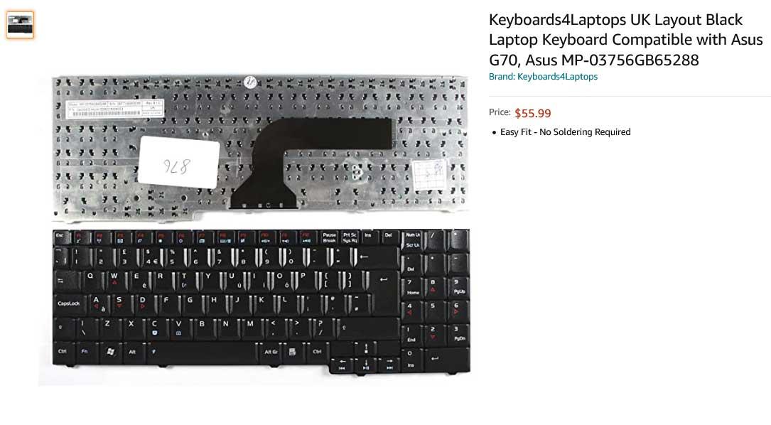 کیبورد لپ تاپ ایسوس G70 G71 MP-03756GB65288