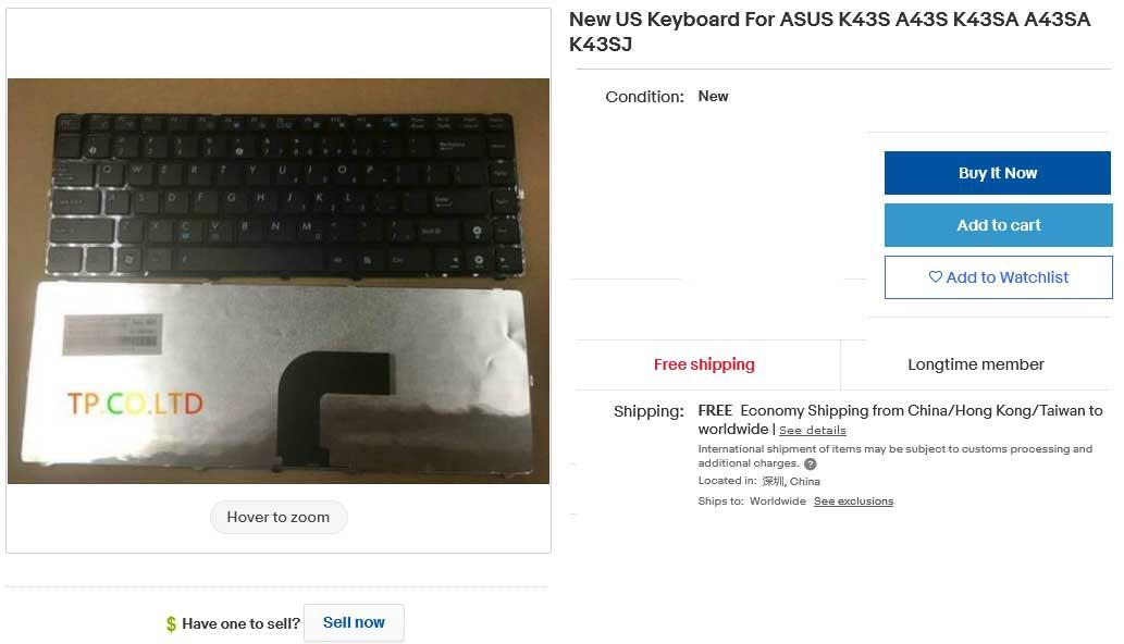 کیبورد لپ تاپ ایسوس ASUS K43S A43S K43SA A43SA K43SJ
