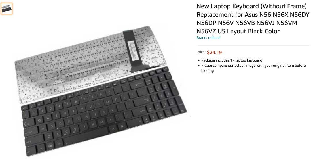 کیبورد لپ تاپ ایسوس N56 N56VZ N56VM U500VZ N76