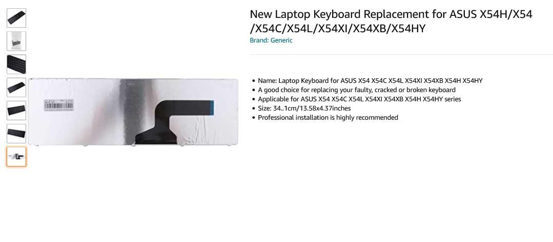 کیبورد لپ تاپ ایسوس X54H X54 X54C X54L X54XI