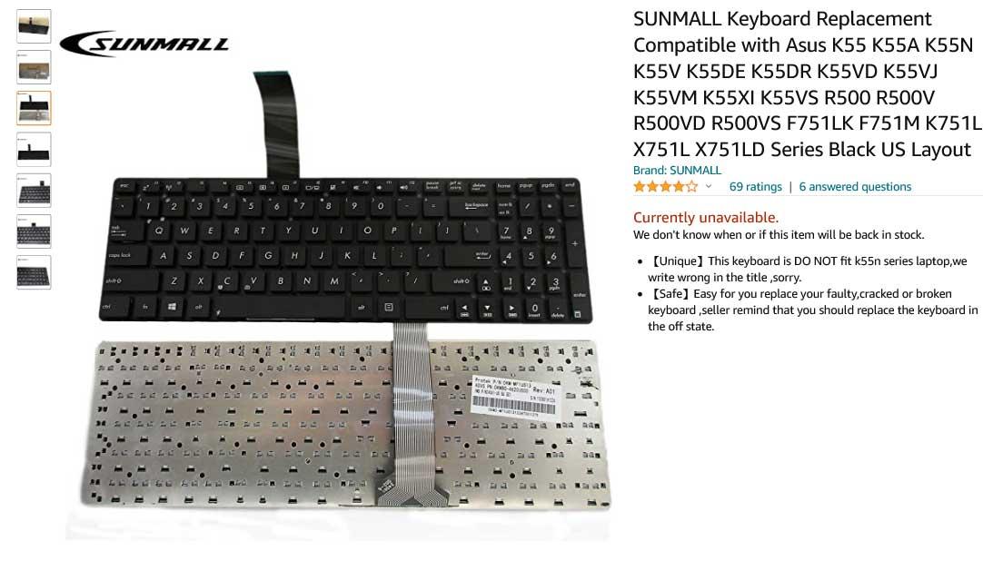 کیبورد لپ تاپ ایسوس K55 K55A K55VD K55VJ A55