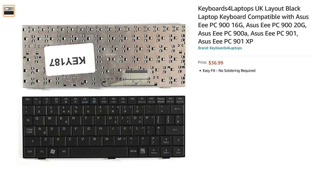 کیبورد لپ تاپ ایسوس Eee PC 900 901 700 701