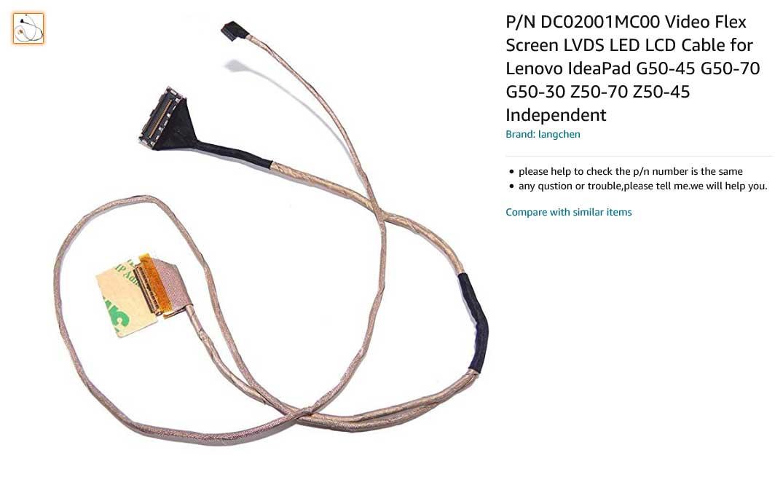 کابل فلت تصویر لپ تاپ لنوو IdeaPad G50 G50-30 G50-40 G50-45