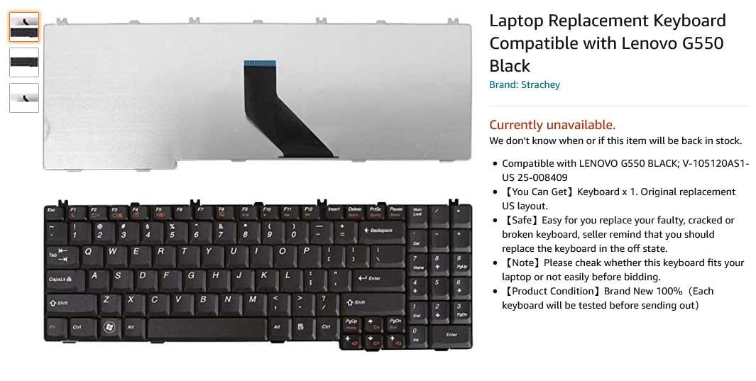 کیبورد لپ تاپ لنوو IdeaPad G550 G555 B550 V560