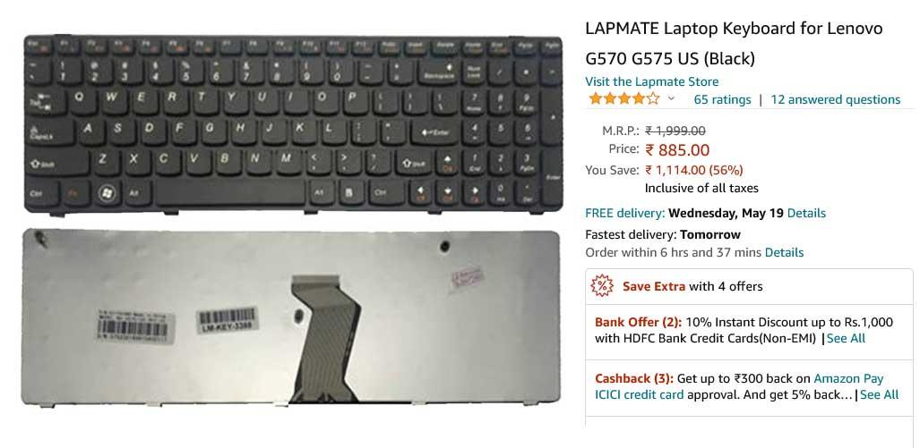 کیبورد لپ تاپ لنوو G570 G575 Z560 B570 Z565