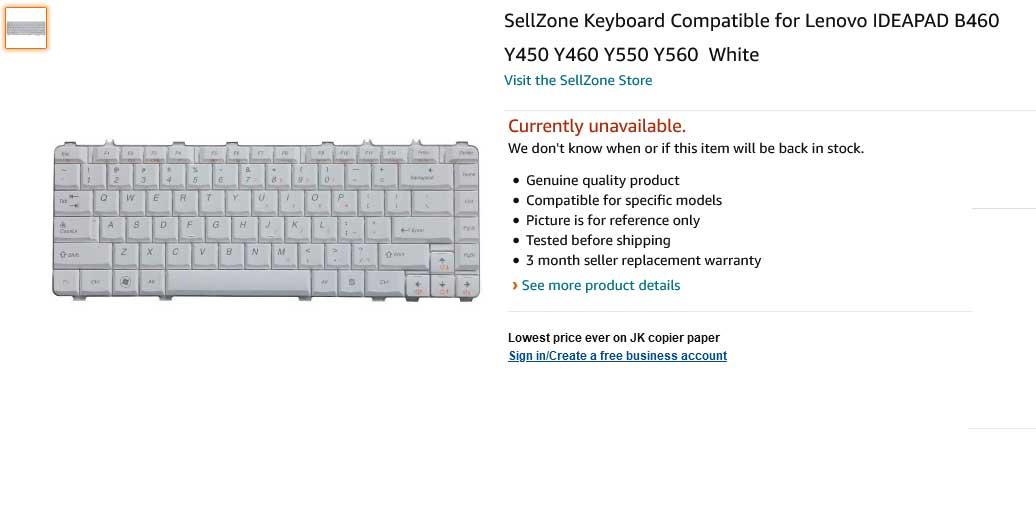 کیبورد لپ تاپ لنوو B460 Y460 Y560 White