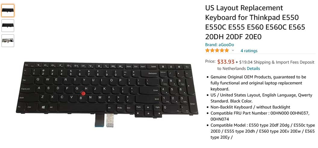کیبورد لپ تاپ لنوو Thinkpad E550 E555 E560
