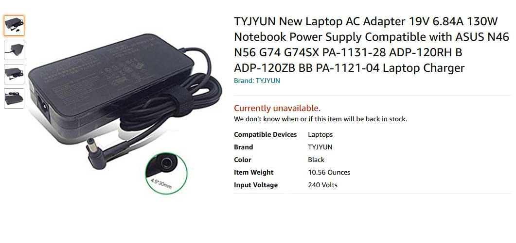 شارژر لپ تاپ ایسوس ۱۹ ولت 6.84 آمپر