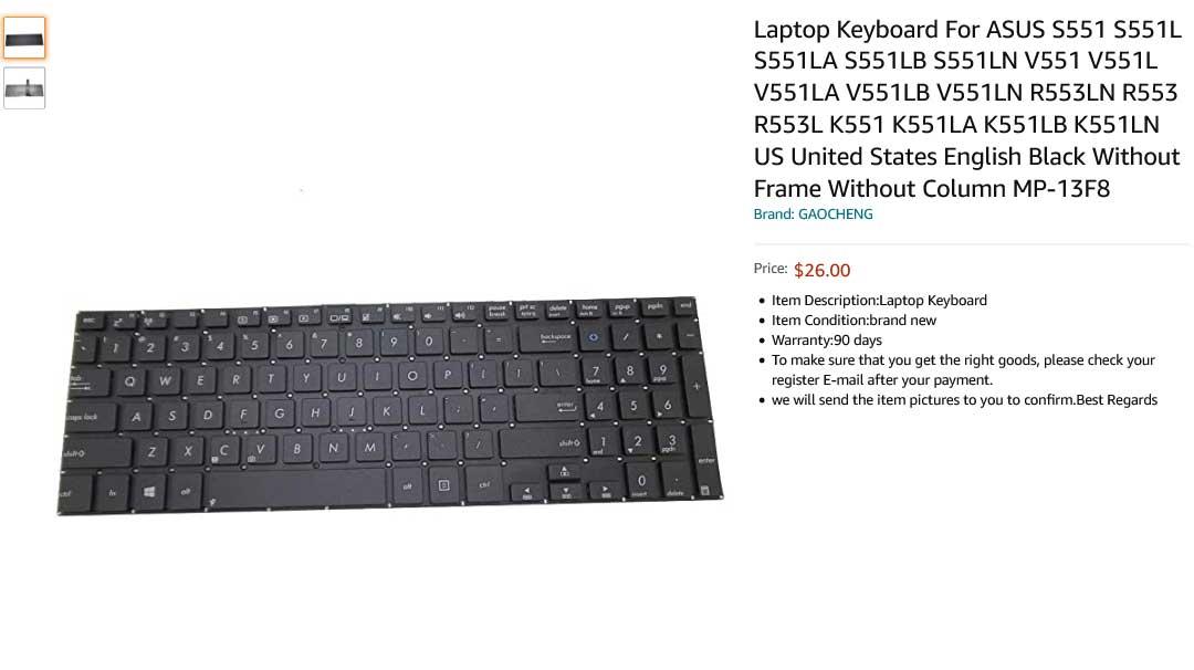 کیبورد لپ تاپ ایسوس ASUS K551 S551L R553L V551