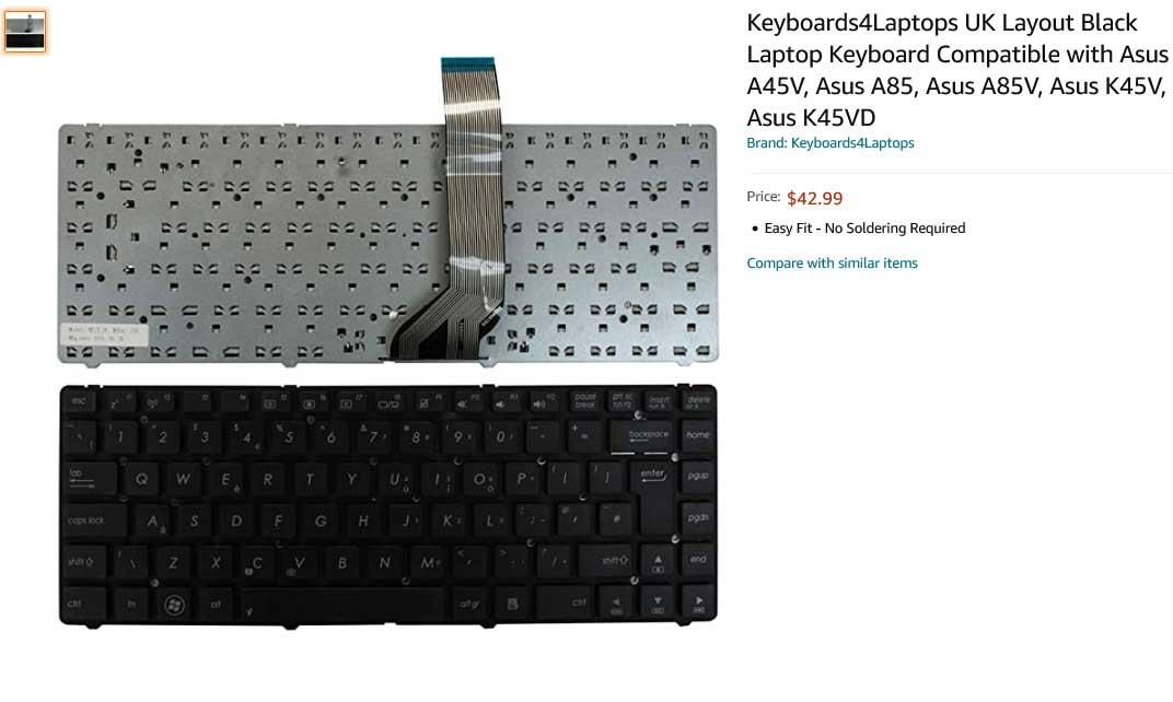 کیبورد لپ تاپ ایسوس ASUS K45 K45A K45V K45VD