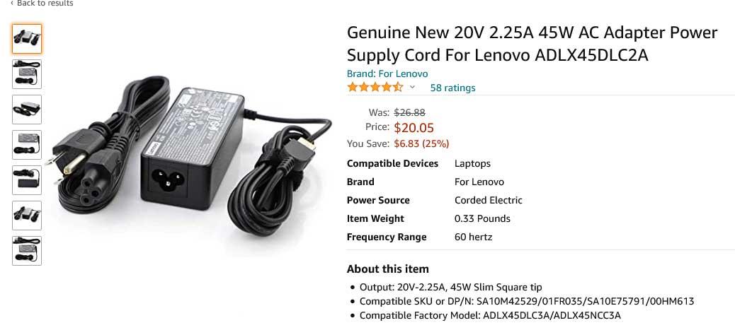 شارژر لپ تاپ لنوو 20 ولت 2.25 آمپر یو اس بی