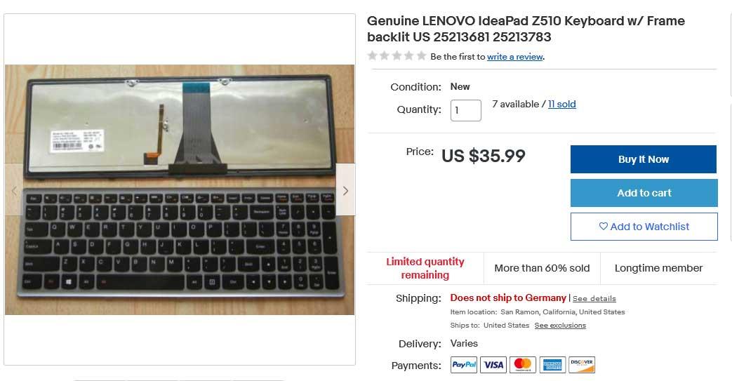 کیبورد لپ تاپ لنوو Keyboard Z510 Backlit