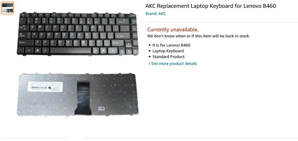 کیبورد لپ تاپ لنوو B460 V460 Y450 Y460 Y550