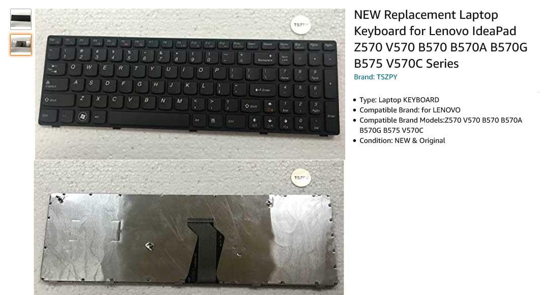 کیبورد لپ تاپ لنوو IdeaPad B570 B575 B580 B590