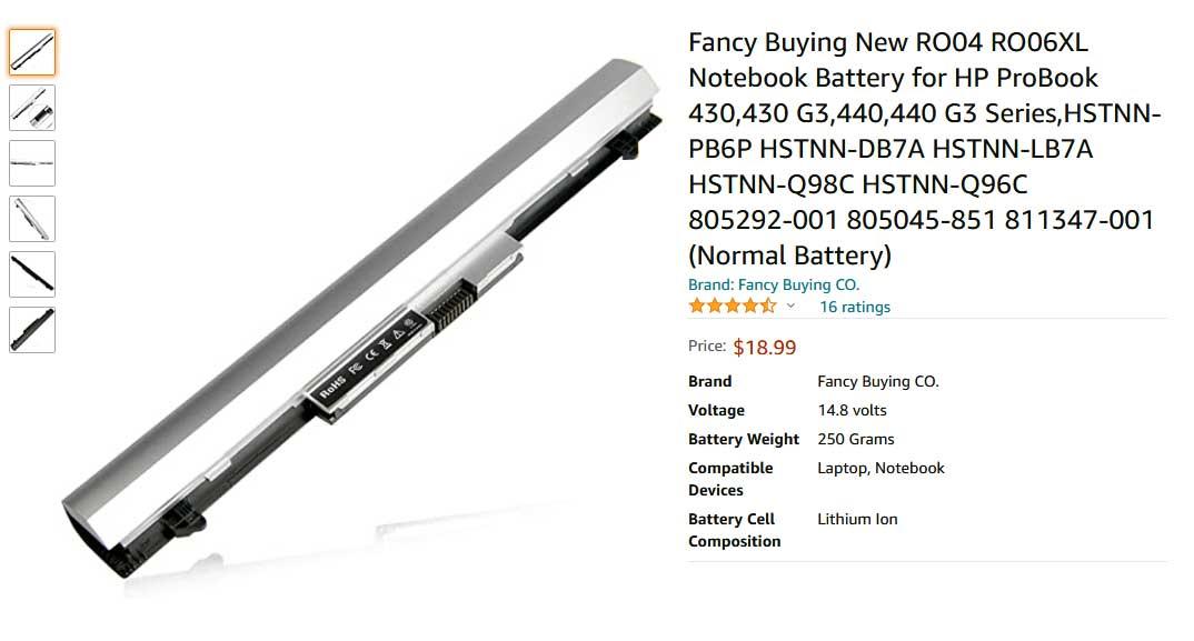 باتری لپ تاپ اچ پی ProBook 430 440 G3 RO04