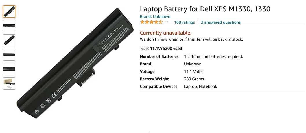 باتری لپ تاپ دل XPS M1330 M1350 Inspiron 1318n