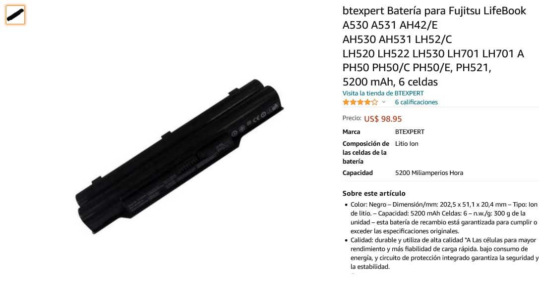 باتری لپ تاپ فوجیتسو LH530 AH532 FPCBP331