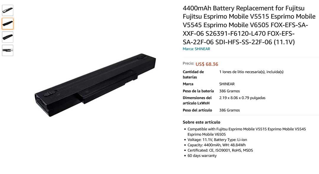 باتری لپ تاپ فوجیتسو Fujitsu V5515 5535 5555