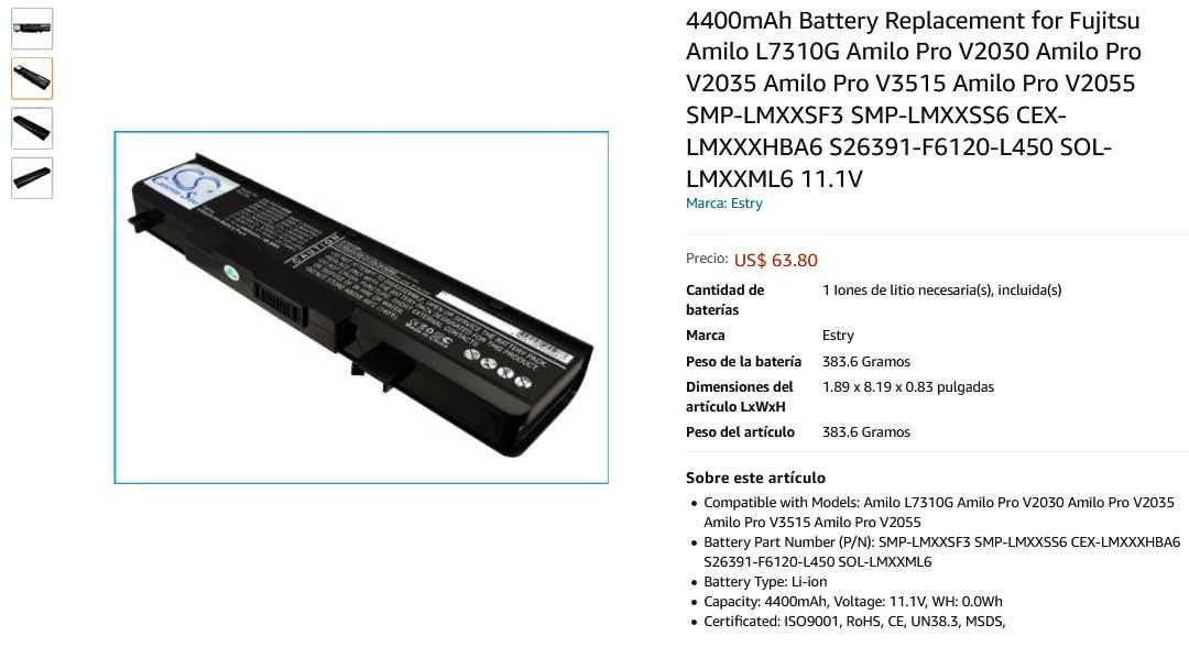 باتری لپ تاپ فوجیتسو V2030 V2035 V3515 V2055