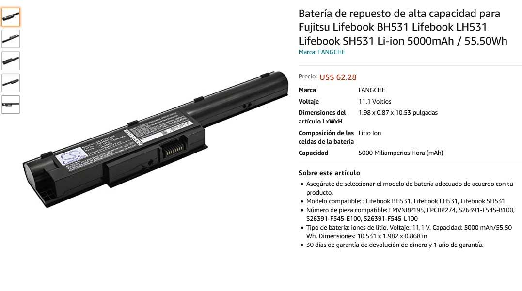 باتری لپ تاپ فوجیتسو LifeBook LH531 SH531