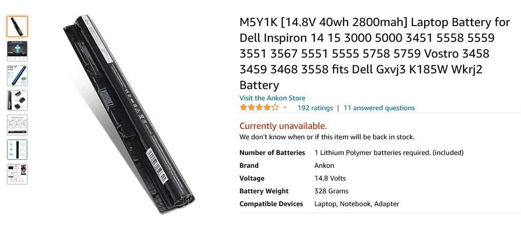 باتری لپ تاپ دل Inspiron 3451 3551 M5Y1K 4cell