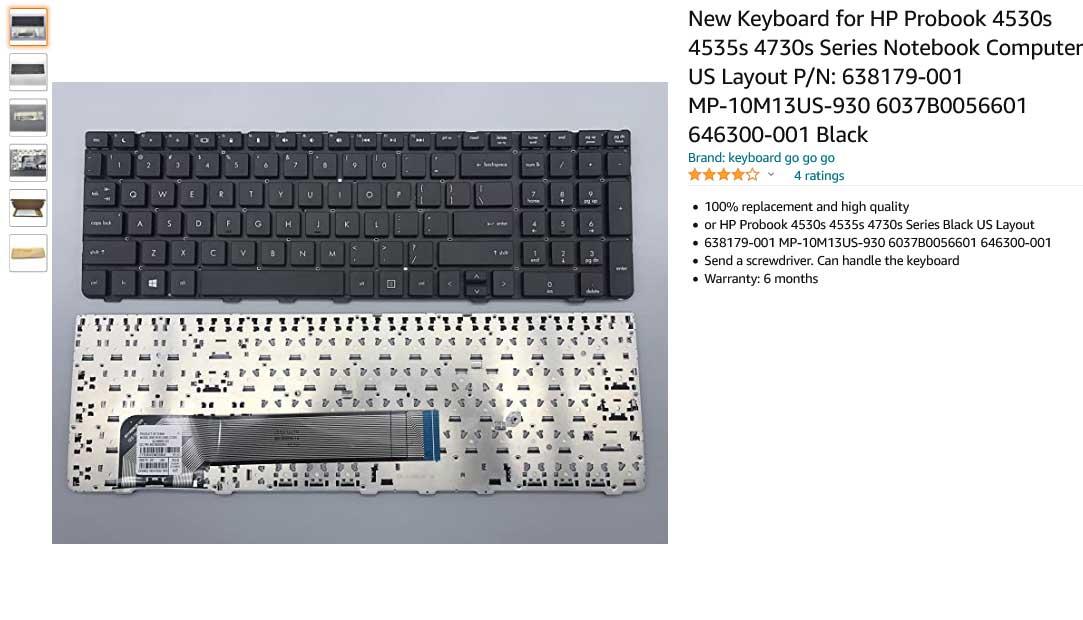 کیبورد لپ تاپ اچ پی ProBook 4530 4535s 4730s
