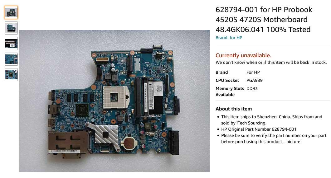 مادربرد لپ تاپ اچ پی Probook 4520S 4720S 48.4GK06.041