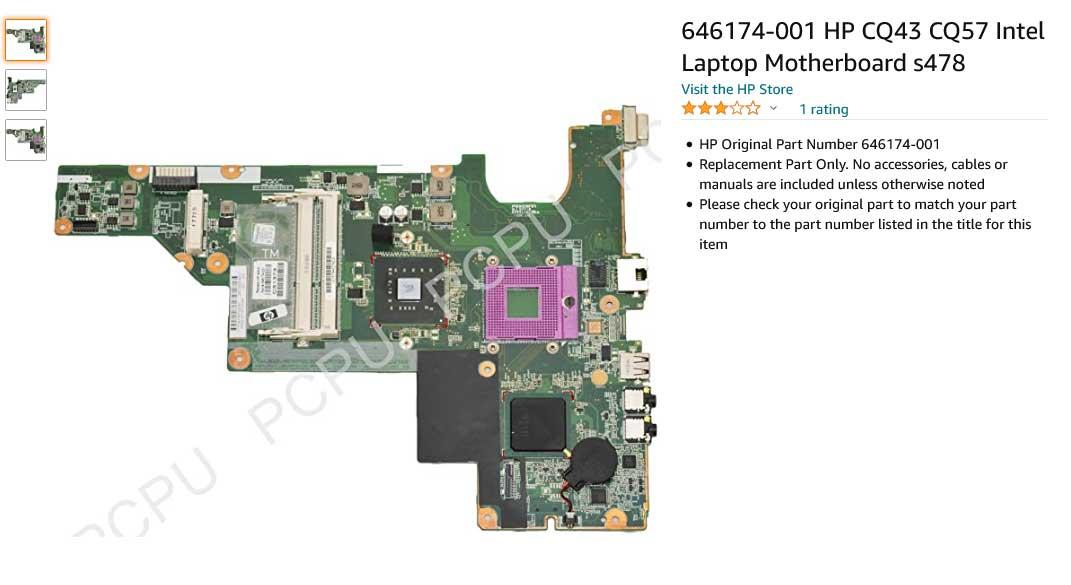 مادربرد لپ تاپ اچ پی CQ43 CQ57 646174-001 Compaq Presario