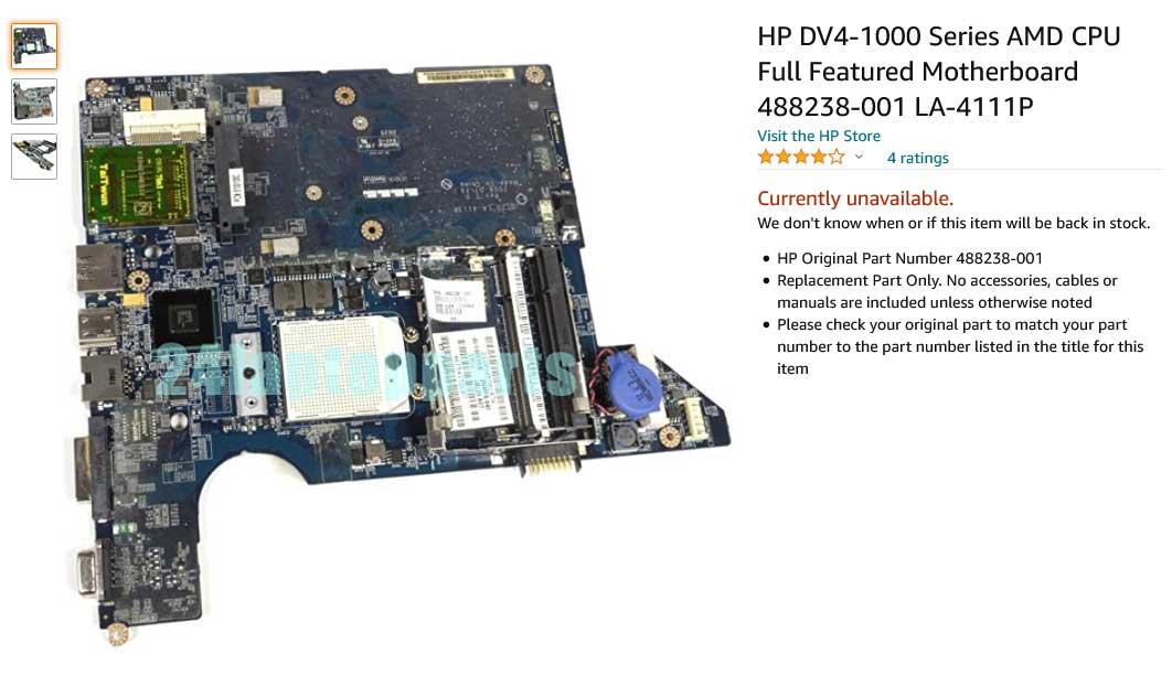 مادربرد لپ تاپ اچ پی HP DV4 DV4-1000 AMD Series 488238-001