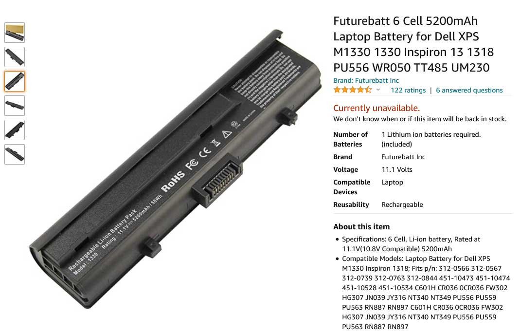 باتری لپ تاپ دل Dell XPS M1530 TK330 GP975
