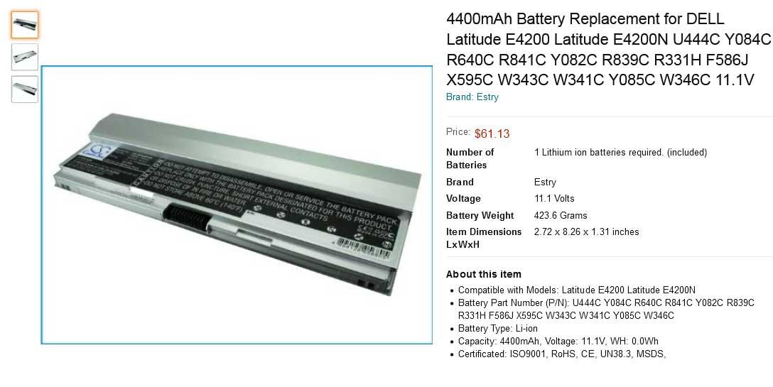 باتری لپ تاپ دل Dell Latitude E4200 Silver