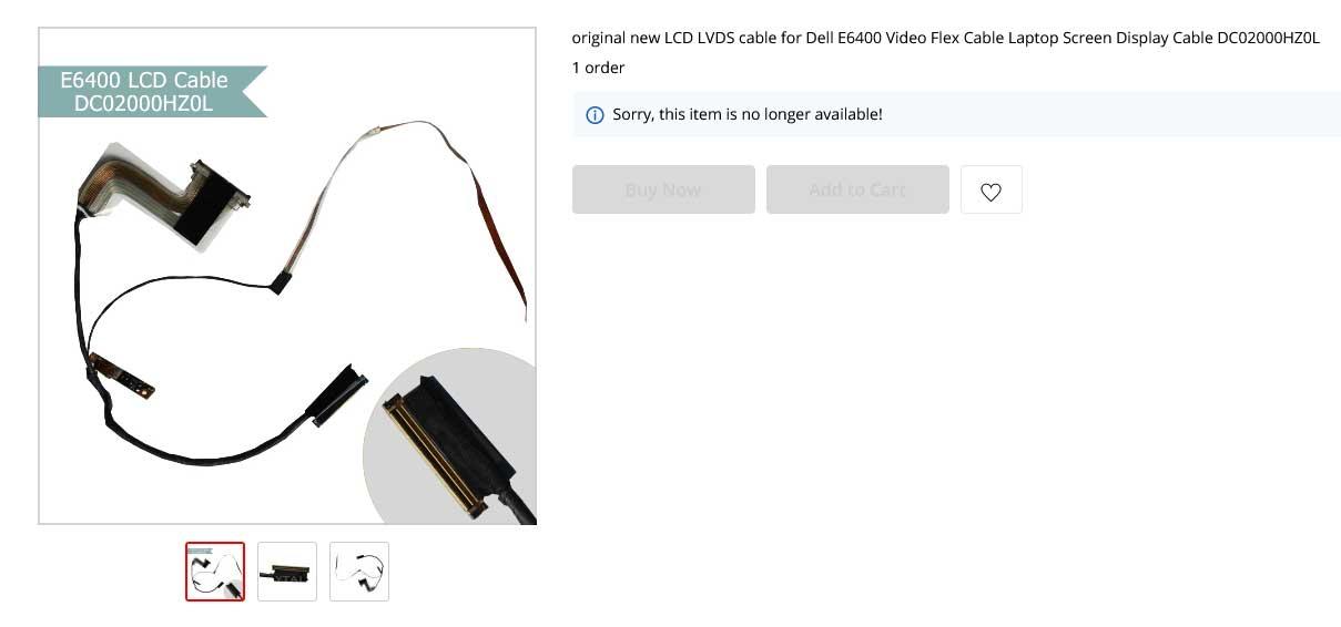 کابل فلت لپ تاپ دل E6400 DC02000HZ0L Cable Video Flex Dell