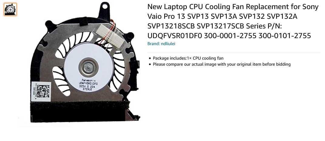 فن لپ تاپ سونی Vaio Pro13 SVP13 SVP132 SVP132A