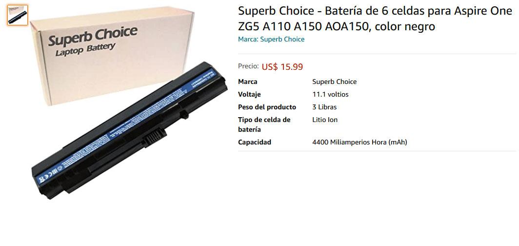 باتری لپ تاپ ایسر One ZG5 A110 A150 AOA150