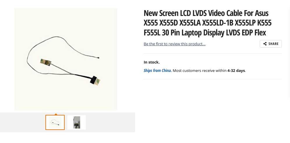 کابل فلت تصویر لپ تاپ ایسوس X555 X555D X555LA K555 F555L