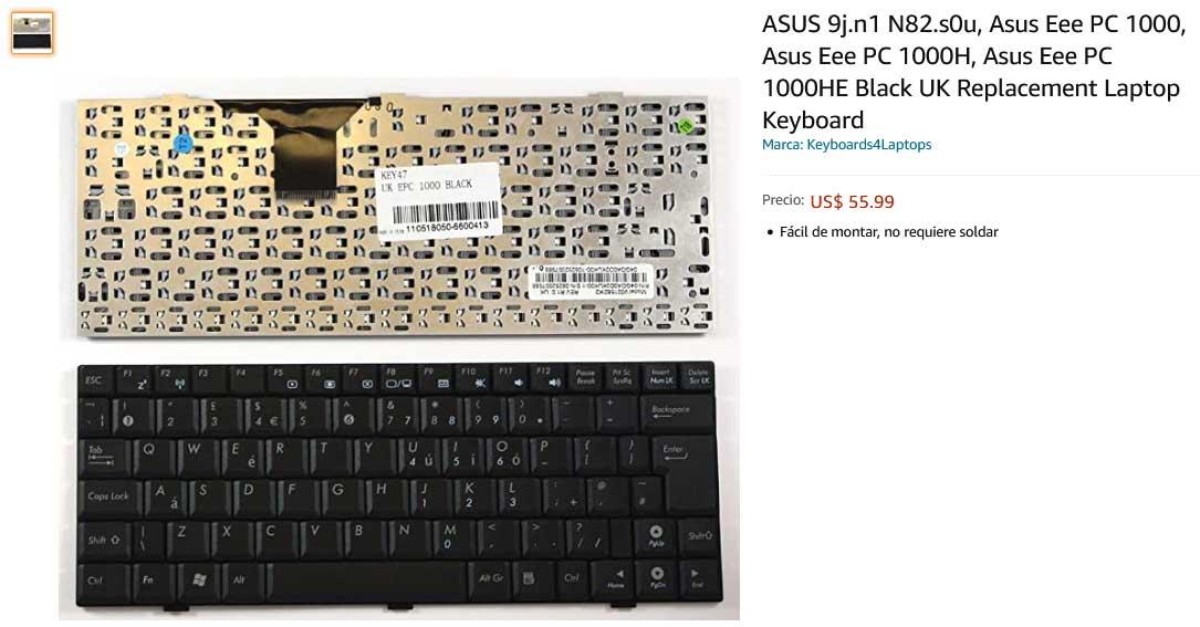 کیبورد لپ تاپ ایسوس Eee PC 1000 1000H 904HA