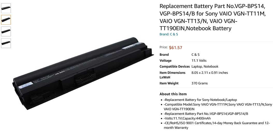 باتری لپ تاپ سونی Sony VGP-BPS14 VGP-BPL14B VGN-TT