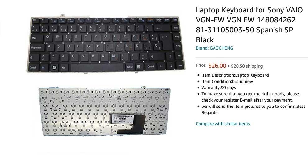 کیبورد لپ تاپ سونی SONY VAIO VGN-FW VGN-FW490