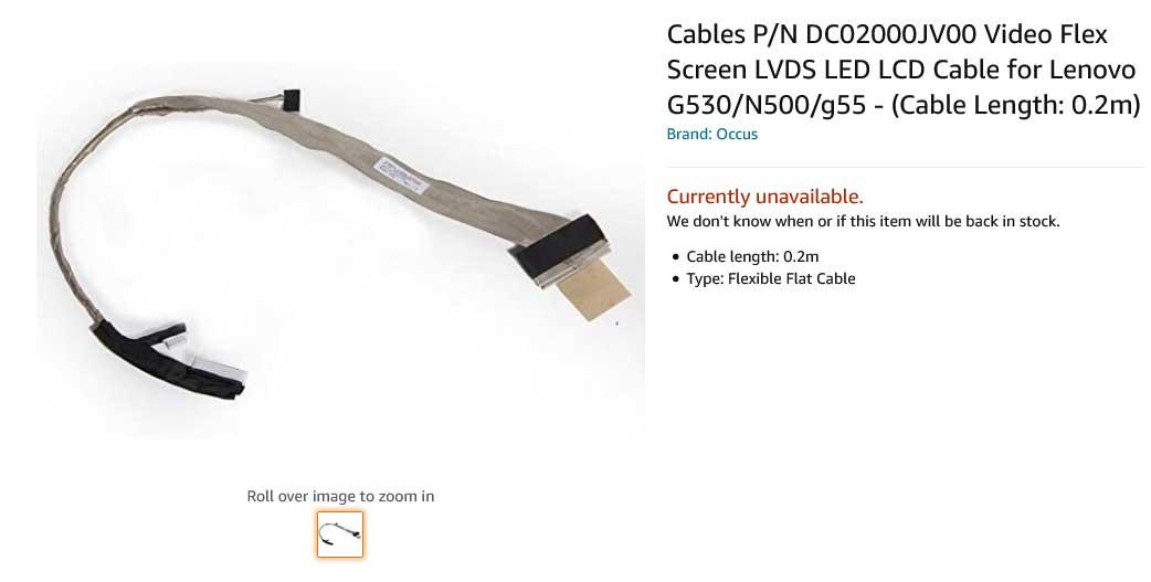 کابل فلت تصویر لپ تاپ لنوو G530 N500 G55 G530M DC02000JV00