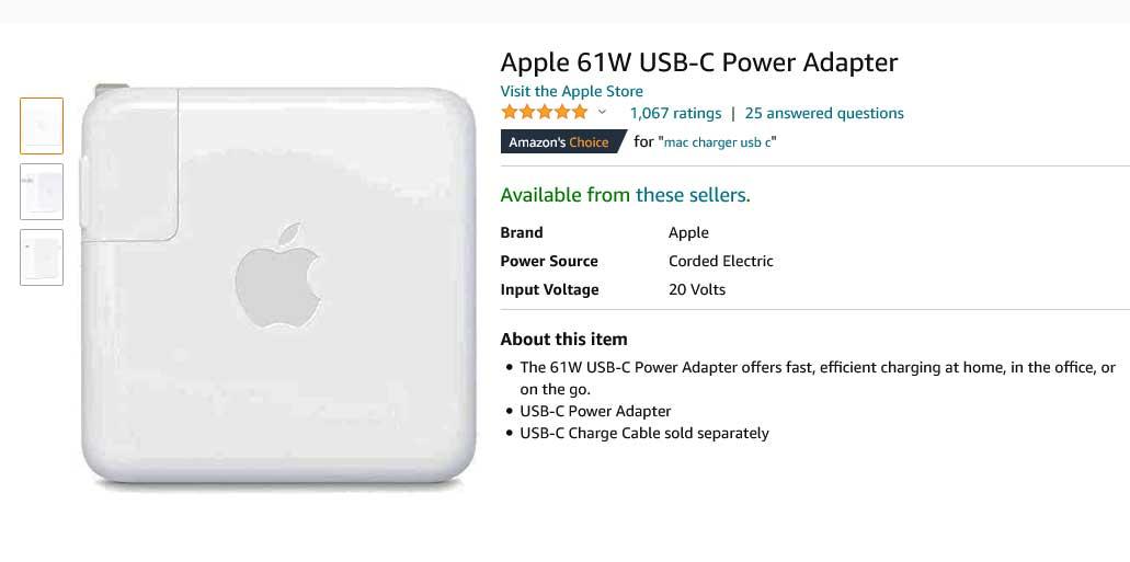 شارژر لپ تاپ اپل APPLE USB Type C 61W
